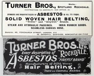 Former asbestos site in Rochdale is to be investigated - old poster in the Turner Brothers asbestos factory in Rochdale